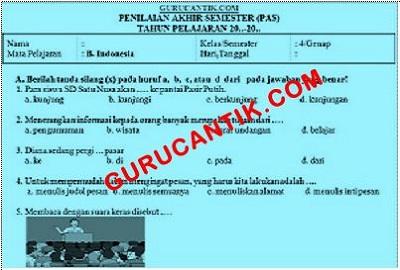 Contoh Soal UAS SD Bahasa Indonesia kelas 1-6